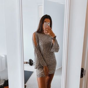 Lush Mini Long Sleeve Cheetah Print Dress